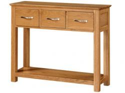 Newark Oak 3 Drawer Console Table http://solidwoodfurniture.co/product-details-oak-furnitures-3491-newark-oak-drawer-console-table.html