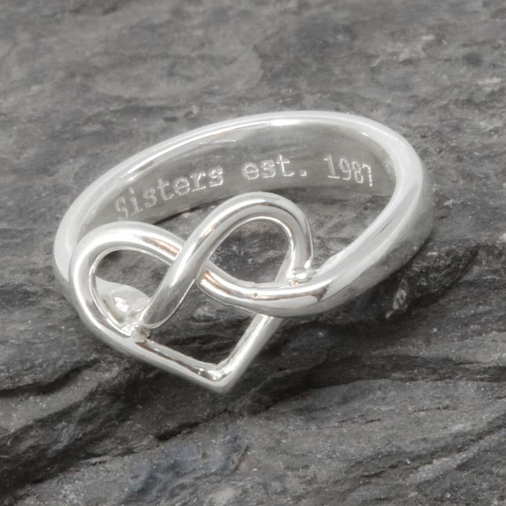 Infinity Ring, Heart Ring, Sterling Silver Ring, best friend, promise, personalized, friendship, sisters, mother daughter, Bridesmaid gift by JubileJewel on Etsy https://www.etsy.com/hk-en/listing/291814051/infinity-ring-heart-ring-sterling-silver