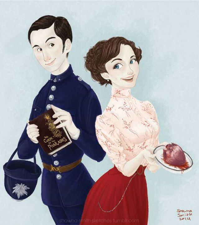 "CBC Connects - Murdoch Mysteries Fan Art A delightful depiction of Constable George Crabtree and Dr. Emily Grace. According to the artist, Shawna Smith, ""these two are super cute."" Lots of chemistry there for sure."