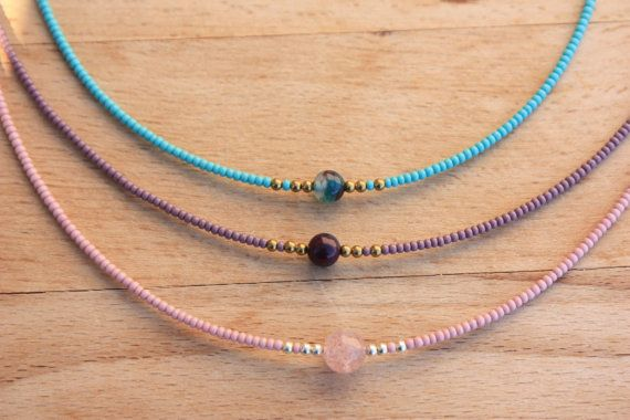 Tiny Beads Choker Necklace Seed bead&Agate  Simple Jewelry