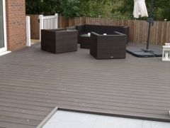 Fensys plastic composite garden decking installation with UPVC gate and fence