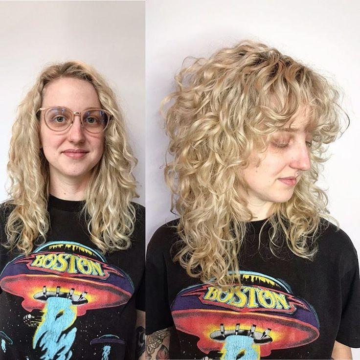 When your client asks for curly bangs and big hair....🤩➰➿➰ . . . . . . #behindthechair #modernsalon #haircut #hair #bighair