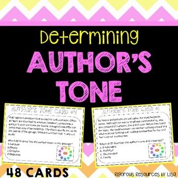 Each of the 48 Author's Tone Task Cards asks students to choose the BEST option of possible tones. Texts include poems, passages and sentences with 44 common tone types. Product includes: - 48 Author's Tone Task Cards- Common Tone Words Sheets (2) for Student Use- Answer SheetPlease follow me for information about additional rigorous products from my store.