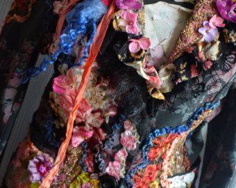 Kunst om te dragen Boheemse herwerkt romantische maat S/M veranderde couture geborduurd en kraaltjes vest met kant zijde