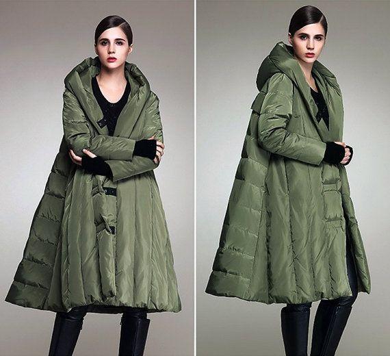 Fashion loose white duck down long cloak hooded down jacket coat,female jacket,women coat - Women Clothing