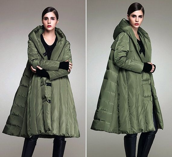 Fashion loose white duck down long cloak hooded down jacket coat,female jacket,women coat - Women Clothing