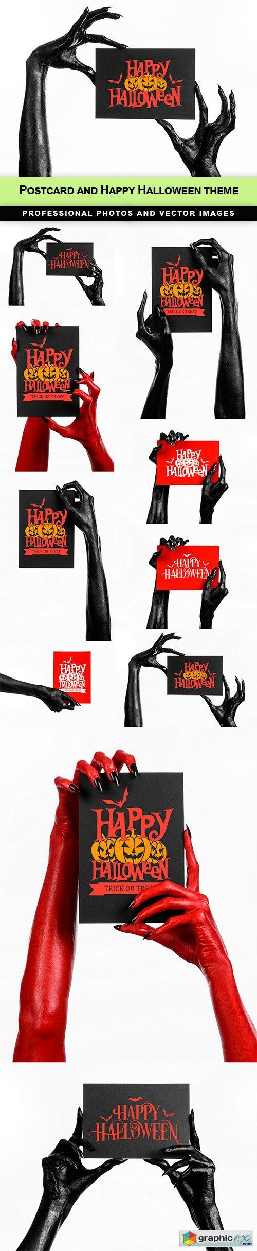 Postcard and Happy Halloween theme  10 UHQ JPEG  stock images
