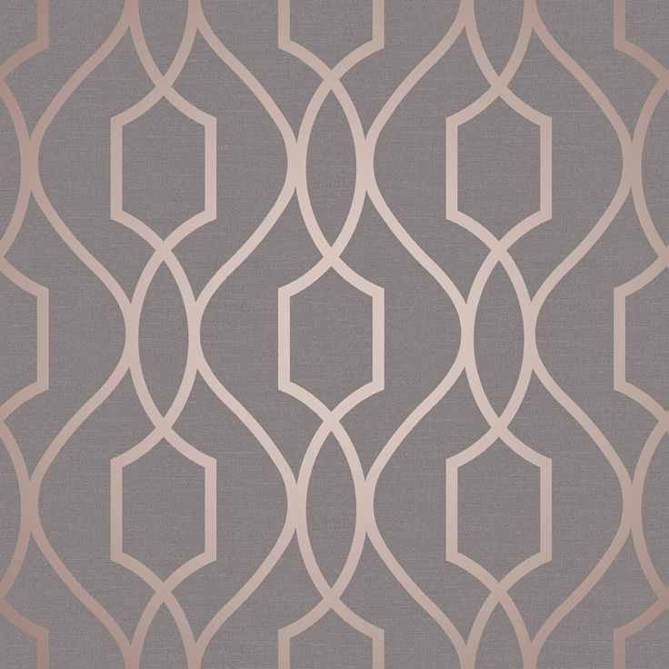 Apex Trellis Sidewall Wallpaper Copper: Apex Geometric Trellis Wallpaper Grey Copper Fine Decor Fd41998 Metallic