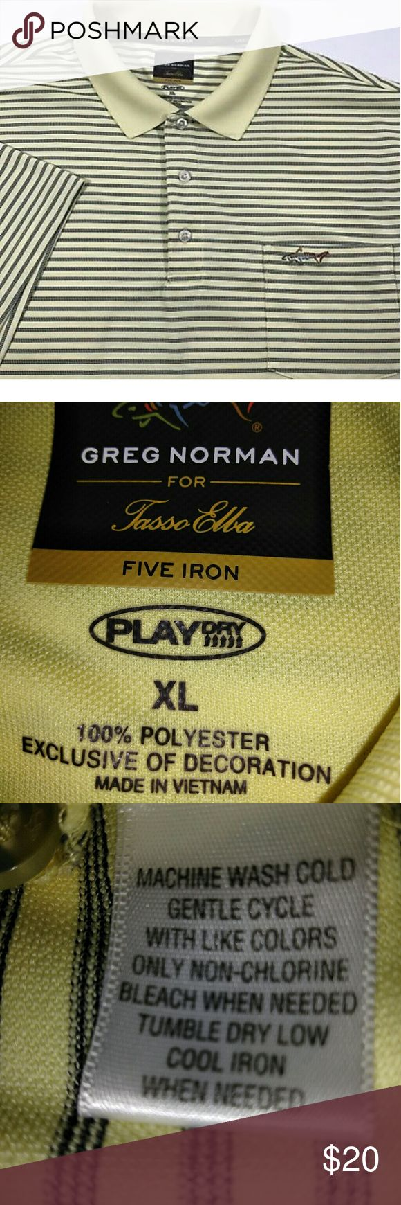 GREG NORMAN Five Iron Play Dry Golf Polo Shirt Greg Norman for Tasso Elba Like New!  Play Dry Polo Emblazoned pocket Three button placket Polyester Tasso Elba Shirts Polos