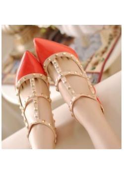 Wholesale Novelty cusp toe women sandals shoes with rivet red   wholesaleitonline.com