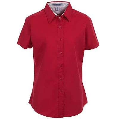 Port Authority Women's Short Sleeve Button-Up Shirt L508 RED