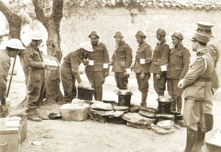 British soldiers hand out tea and bread to Greek soldiers on Crete ...