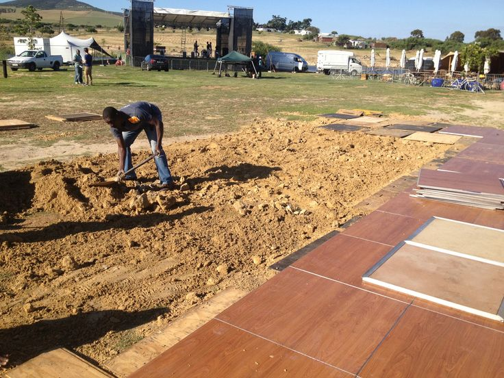 levelling the ground for a marquee floor