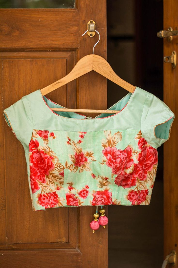 House Of Blouse Pista green floral rawsilk blouse