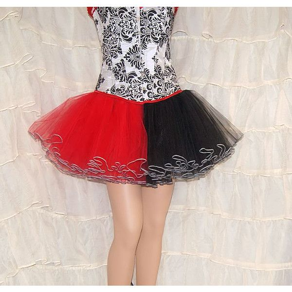 Red and Black Split Piped Costume TuTu Crinoline Skirt MTCoffinz ($65) ❤ liked on Polyvore featuring costumes, red and black halloween costumes, stitch halloween costume, harley quinn costume, bride halloween costume and bride costume