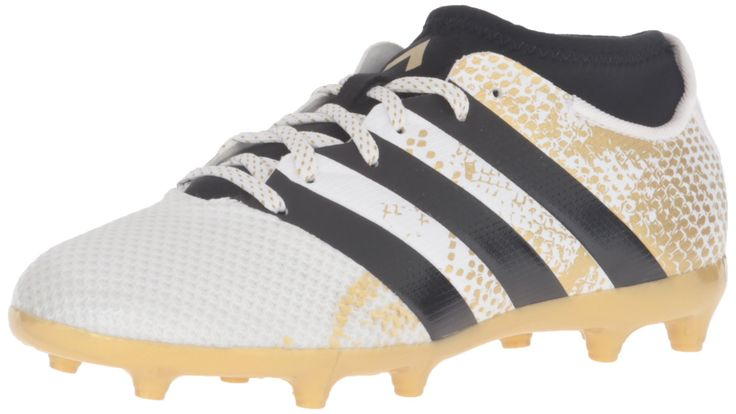 adidas Performance Kids' Ace 16.3 Primemesh Firm / Artificial Ground Soccer Cleats, White/Black/Metallic Gold, 12 M US Little Kid. These junior football boots are for the player who leads his team through every opponent and into every goal. and perfect fit to dominate on firm ground and artificial grass. Experience improved ball control and zero wear-in time with a prime mesh upper has that provided a comfortable, sock-like fit. a prime mesh upper delivers precise control. Synthetic prime...