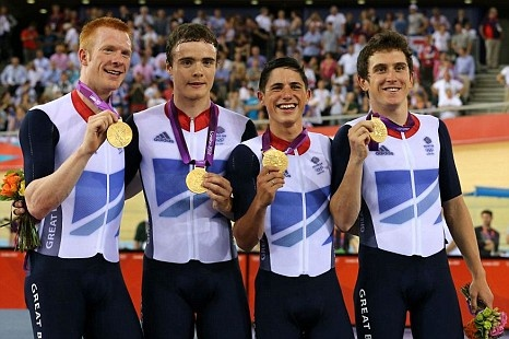 Ed Clancy, Steven Burke, Peter Kennaugh & Geraint Thomas. Gold, Team Pursuit. London 2012 Olympics cycling