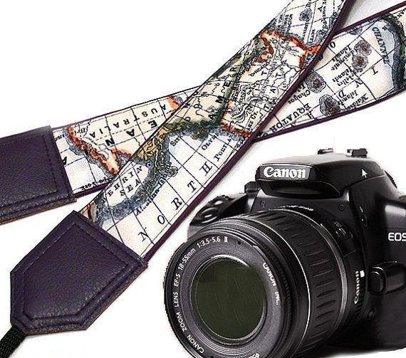 Dark purple DSLR Camera Strap. World Map Camera Strap. by InTePro