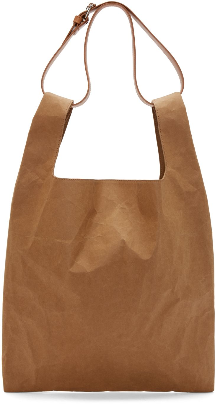 Maison Margiela: Tan Leather & Paper Shopping Tote | SSENSE