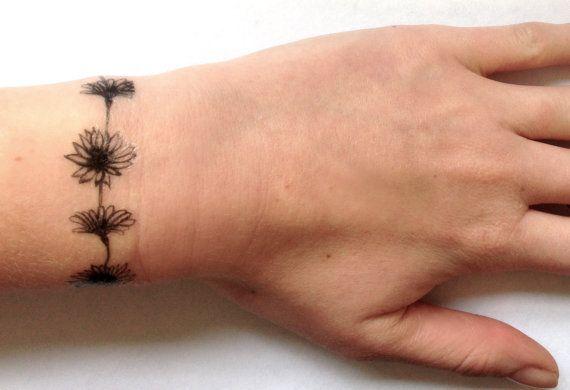 Daisy Chain temporary tattoo 5x2 by Inkweartattoos on Etsy