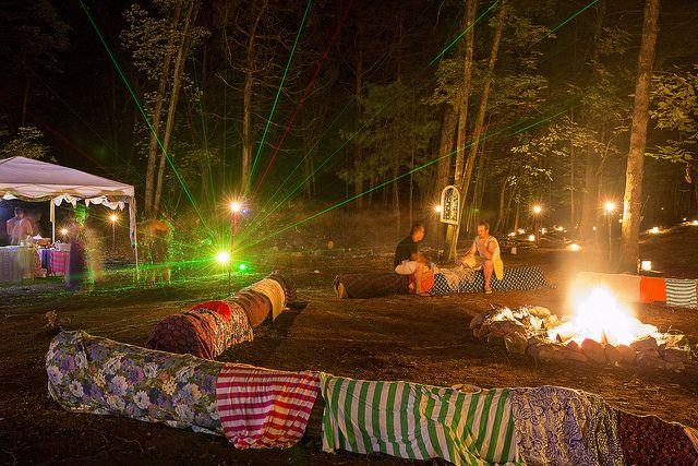 Backyard Bonfire Wedding : outdoor wedding bonfire with lazer light show via @Offbeat Bride