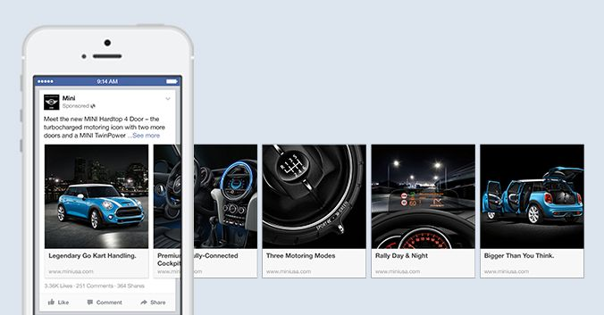 The new format will support 5 images and links that will scroll horizontally. This format will be available for both app install ads as well as engagement ads. According to Facebook the non-mobile carousel link ads drive a 30-50% lower cost-per-conversion and 20-30% lower than single-image ads.