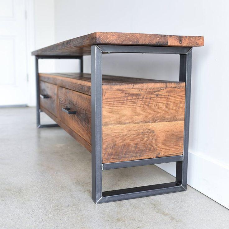 Soporte de TV industrial hecho de madera recuperada / Gabinete | Etsy