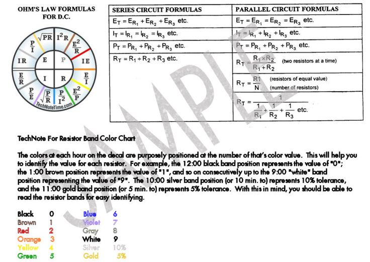 DC ohmu0027s law power formula card Radio Stuff- Codes, Charts - resistor color code chart