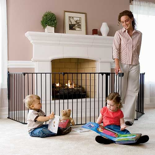 babyproofing fireplace option from onestepahead.com Thought this might be a good idea around the entertainment center!