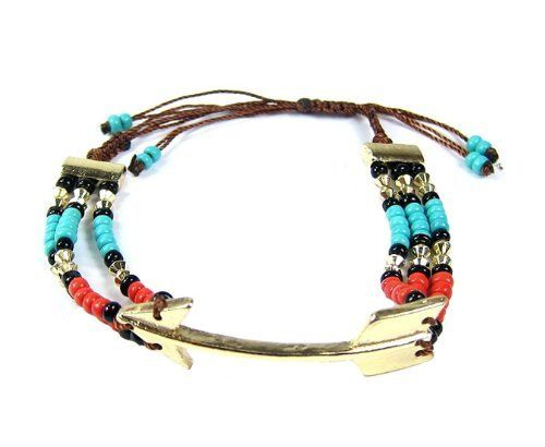 Arrow Friendship Function GOLD TURQUOISE RED with Beads Adjustable Troy Designs. $5.95. GREAT QUALITY. GOLD RED TURQUOISE. ADJUSTABLE. Nickel & Lead free. BEADED. Save 46%!
