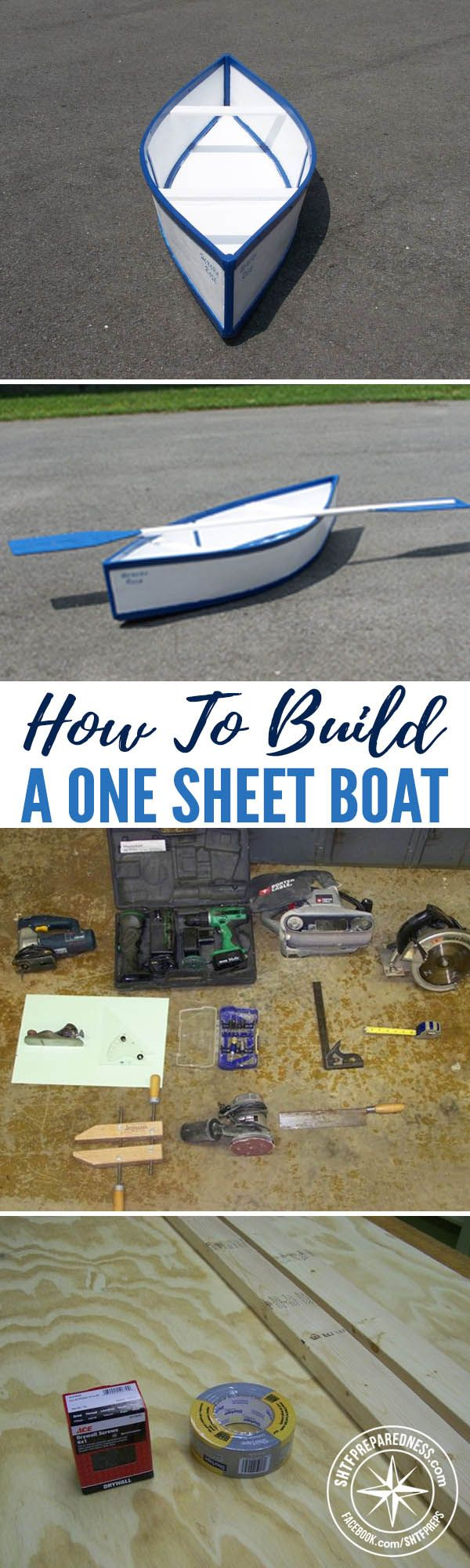 How To Build a One Sheet Boat — Having a boat can be great- you can catch your own fish, have fun out on a lake, or if the situations calls for it, get out of Dodge! Boats can be expensive, though, and if you can afford a larger one you'll also have to worry about storing it.