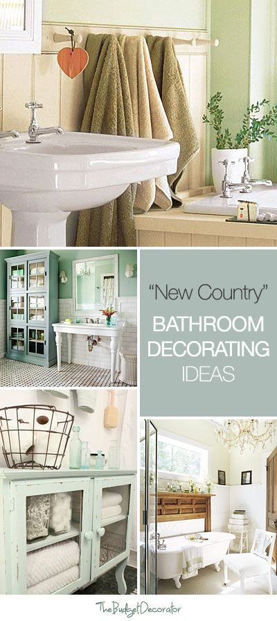 """""""New Country"""" Bathroom Decorating • Tips & Ideas! I love the bottom left turquoise color!"""
