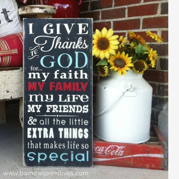 I Give Thanks to God for... Vintage Style Typography Word Art by barnowlprimitives  ...LOVE