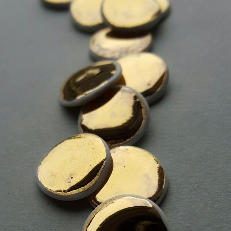 Fresh from the kiln! 24ct Gold Lustre stud earrings