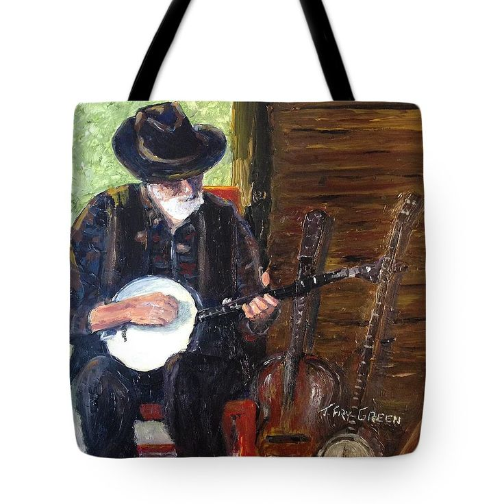 MOUNTAIN MUSIC Tote Bag for sale by T Fry-Green.  $26.00The tote bag is machine washable, available in three different sizes, and includes a black strap for easy carrying on your shoulder.  All totes are available for worldwide shipping and include a money-back guarantee. #mountainmusic #music #banjo #oldman #instruments #musicalinstruments #guitar #fiddle #fashionbag #tfrygreenart #tfrygreen #homeatlaststudio #art #original #tote #toteart #fineartamerica