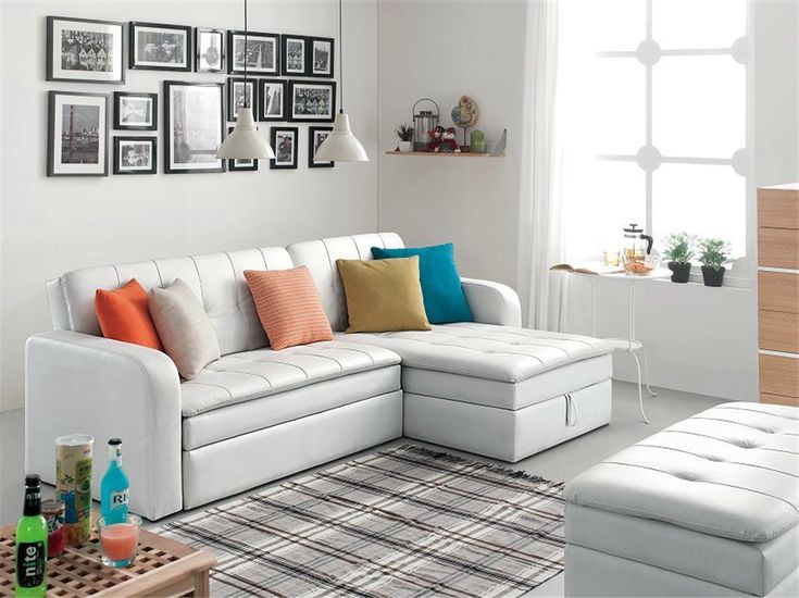 Beige Sofa Bed With Storage Box Novel Design Folding
