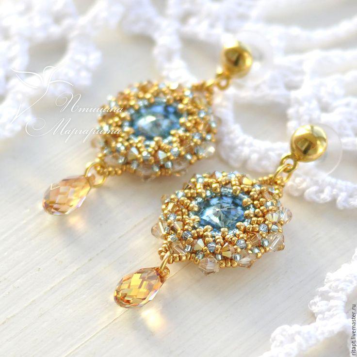 Купить Вечерние серьги с кристаллами Сваровски, серьги с подвесками - золотой, серьги, вечерние серьги