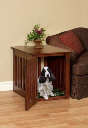 Wooden Dog Crate End Table in Maple Wood Medium Size by pinnaclewc, $299.00