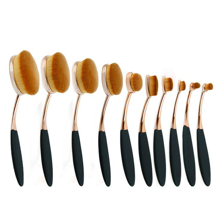 10pcs oval makeup brush set professional rose gold make up brushes set oval brush set cosmetic brush makeup tools for beauty