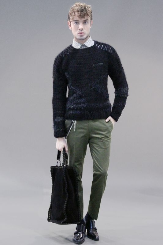 MARIO DICE FW13 black wool knit / white shirt / black tie / military green pants with chain