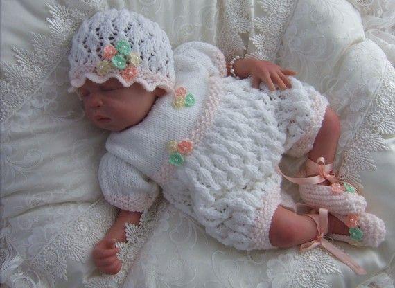Baby Knitting Pattern - Reborn Dolls Knitting Pattern - Amelia - Download PDF Knitting Pattern - Romper Set - 0-3 Months #etsy #reborndolls