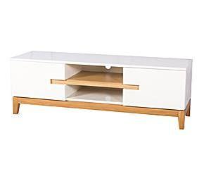 Mueble de TV con 2 puertas en DM lacado – blanco y roble
