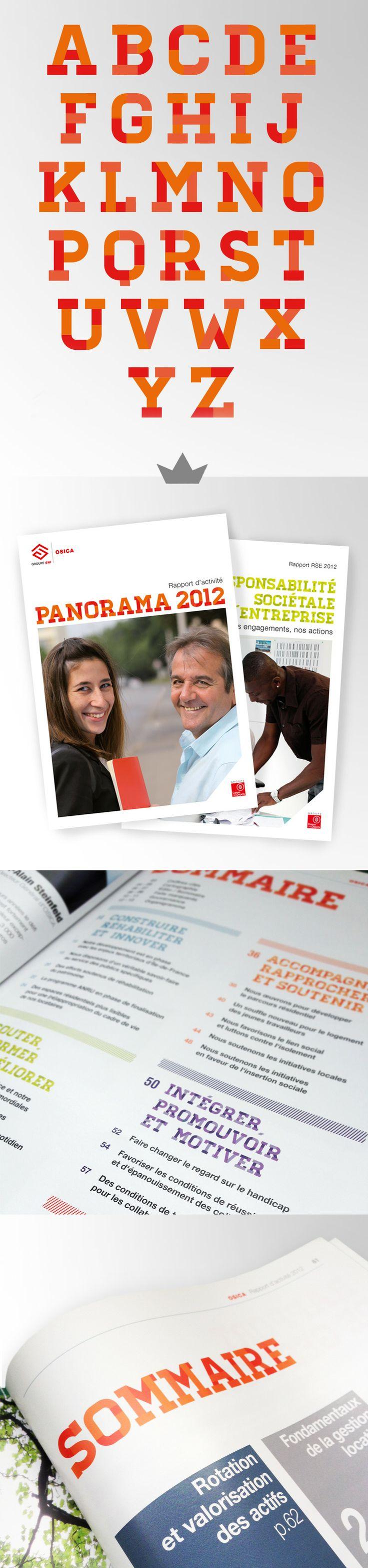 Création d'une typographie pour le Rapport d'activité Panorama 2012 (Groupe SNI / Osica / Caisse des Dépôts)
