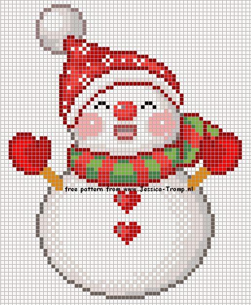 Christmassnowmen Xmas designs stitchingcharts kerst borduurpatronen Kerstmis kerst sneeuwpoppen