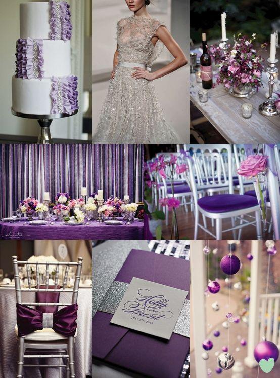 Purple And Silver Wedding Colour Scheme Mood Board