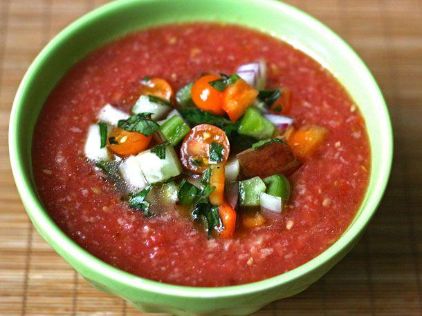 Gazpacho http://www.seriouseats.com/recipes/2010/08/dinner-tonight-alice-waters-gazpacho-recipe.html