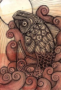 "Saatchi Online Artist Lynnette Shelley; Drawing, ""Go! Fish"" #art"