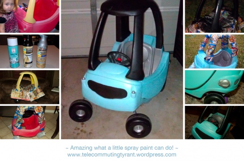 To paint Kendall's car-Plastic spray paint to change cookie cutter toys to something a bit more fun!