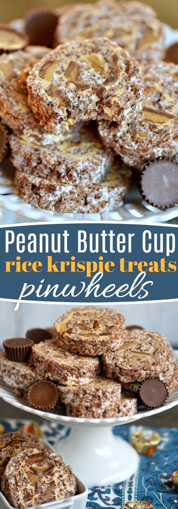 These Peanut Butter Cup Krispie Treats Pinwheels are my new favorite treat and sure to be a hit with the peanut butter lover in your life. Layers of chocolate, marshmallow, peanut butter and peanut butter cups are rolled up into an irresistible dessert! Great for parties! // Mom On Timeout
