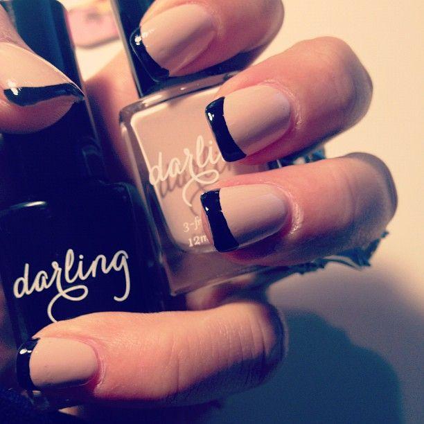 Nude black nails nailart frenchmanicure